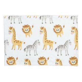 Baby Zebra, Giraffe and Lion Cub Pillowcase