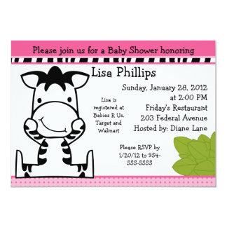 "Baby Zebra Girl Baby Shower Invitation 5"" X 7"" Invitation Card"