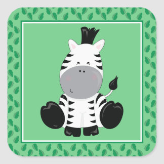 Baby Zebra | Safari Animals Party Square Sticker