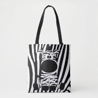 Baby Zebra With Black and White Zebar print Patter Tote Bag