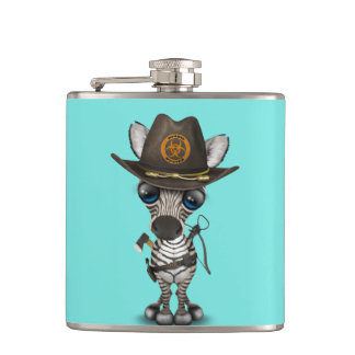 Baby Zebra Zombie Hunter Hip Flask