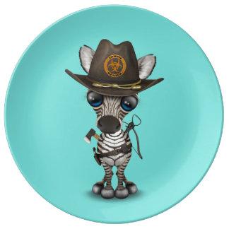 Baby Zebra Zombie Hunter Plate