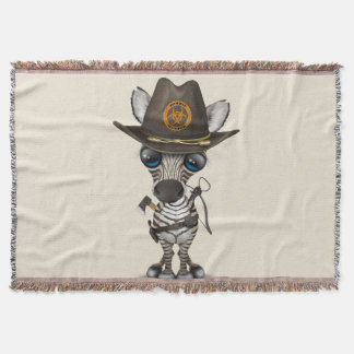 Baby Zebra Zombie Hunter Throw Blanket