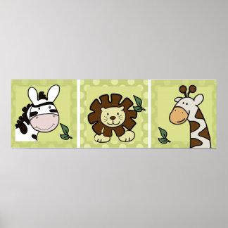 Baby Zoo Animals Giraffe Zebra Lion set of 3 Poster