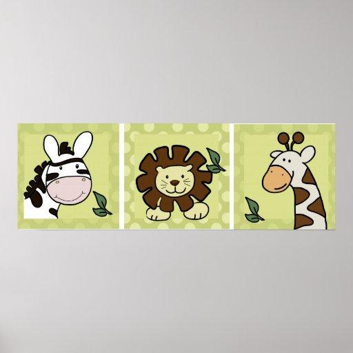 Baby Zoo Animals Giraffe Zebra Lion set of 3 Print
