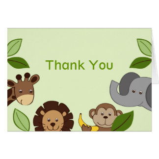 Baby Zoo Jungle Animals Thank You Note Cards