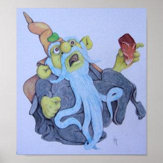 Babyblue Beard Wizard Poster