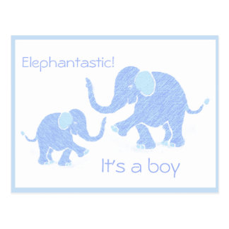 Babyblue Cute Elephant with Parent Custom Greeting Postcard