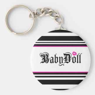 babydoll basic round button keychain