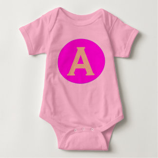 Babygrow. Design: Initial A - Pink background. Baby Bodysuit