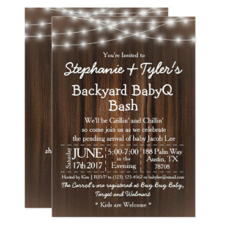 BabyQ Backyard Bash Lights Wood Rustic Baby Shower Card