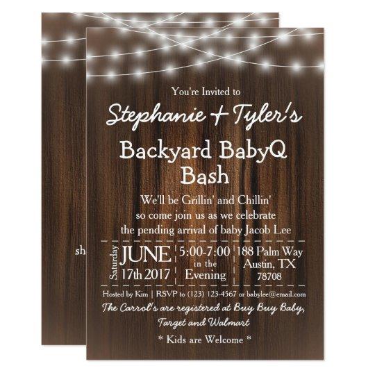 BabyQ Backyard Bash Lights Wood Rustic Baby Shower Card