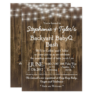 BabyQ Backyard BBQ Bash Wood Rustic Baby Shower Card