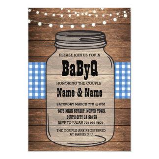 BaByQ It's A Boy Baby Shower Blue Check Invite