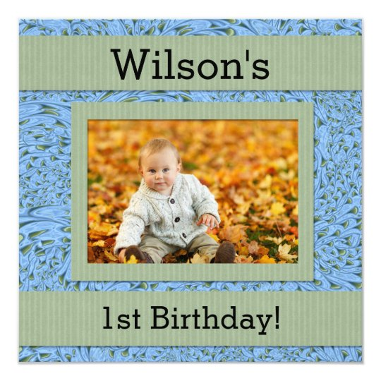 Baby's 1st Birthday | Blue and Green Paisley Card