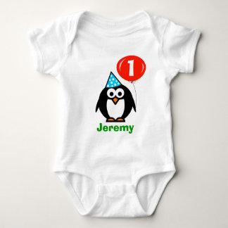 Baby's 1st Birthday creeper | penguin and balloon
