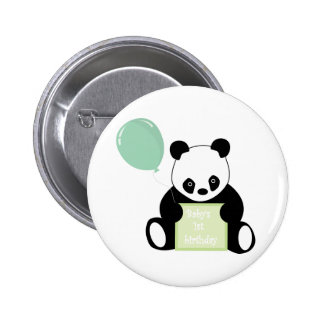 Baby's 1st birthday cute panda bear button, pin