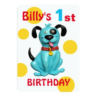Baby's 1st Birthday Party Cute blue Puppy Dog Boy Card