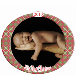 Baby's 1st Christmas Argyle Christmas Ornament Photo Sculpture Ornament