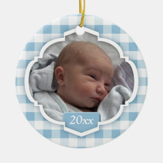 Baby's 1st Christmas Blue Gingham Photo Ornament