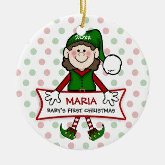 Baby's 1st Christmas (brunette) Elf Girl2 Ceramic Ornament