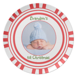 Baby's 1st Christmas Candy Cane Plate