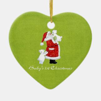 Babys 1st Christmas Ceramic Heart Ornament