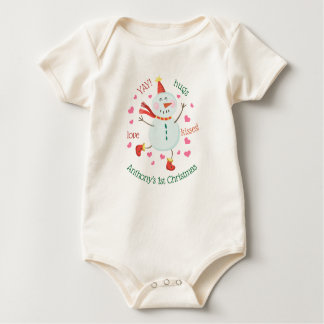 Baby's 1st Christmas Cheery Snowman Baby Bodysuit