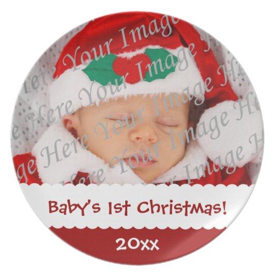 Baby's 1st Christmas Custom Photo Plate