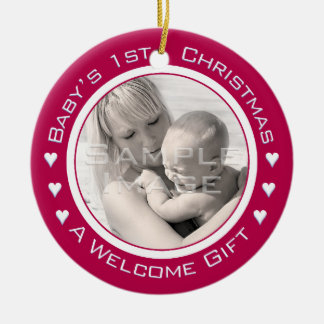 Baby's 1st Christmas Custom Red Photo Ornament