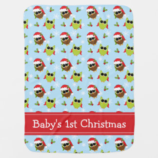 Baby's 1st Christmas Cute Owls Blanket