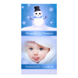 Baby's 1st Christmas Cute Snowman Blue Picture Card