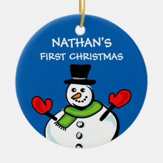 Baby's 1st Christmas cute snowman personalized Ceramic Ornament