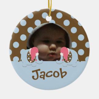 Baby's 1st Christmas Elephant Ornament-blue/brown Ceramic Ornament