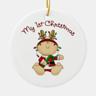 Babys 1st Christmas Round Ceramic Ornament