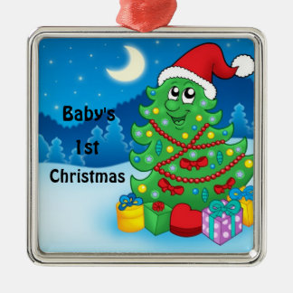 Baby's 1st Christmas Silver-Colored Square Ornament