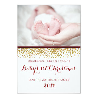 Baby's 1st Christmas Photo Card Red Gold