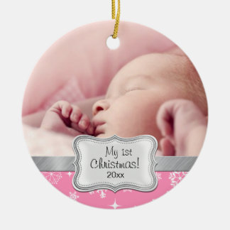 Baby's 1st Christmas.  Pink and White Snowflakes Round Ceramic Ornament