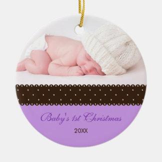 Baby's 1st Christmas - Ribbon (lavender) Ceramic Ornament