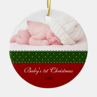 Baby's 1st Christmas - Ribbon (red) Round Ceramic Ornament