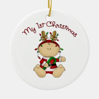 Babys 1st Christmas Round Ceramic Ornament