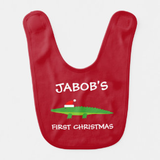 Baby's 1st Christmas Santa crocodile personalized Bib