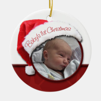 Baby's 1st Christmas - Santa Hat Photo Ornament