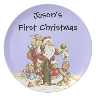 Baby's 1st Christmas Santa Kids Snowflakes Plate
