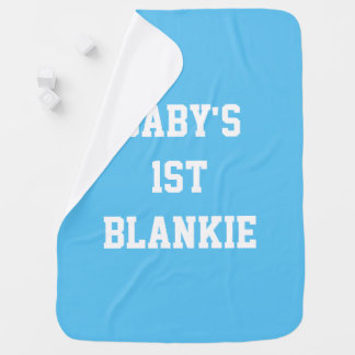 Baby's 1st (First) Blankie, Blue Blanket Swaddle Blankets