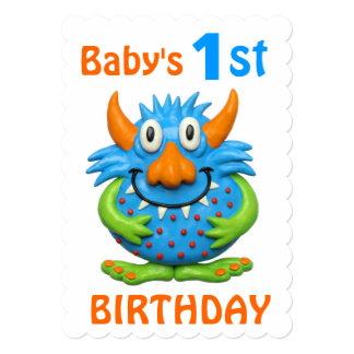 Baby's 1st Monster Birthday Party Card
