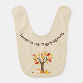 Baby's 1st Thanksgiving with Tree, Fox & Pumpkin Bib