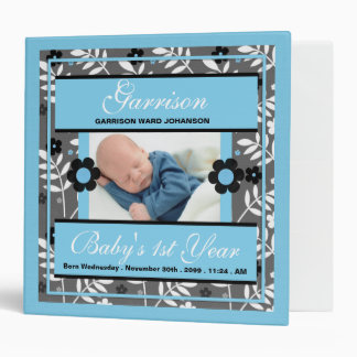 Baby's 1st Year | Photo Scrapbook | Retro Blue 3 Ring Binders