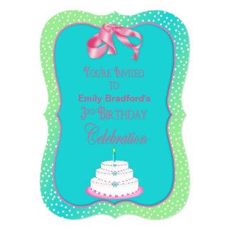 BABY'S 3rd BIRTHDAY INVITATION - Green/pink/blue