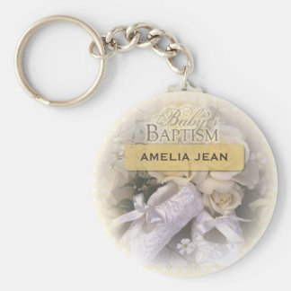 Baby's Baptism Neutral, Custom, Personalize, Ameli Basic Round Button Keychain